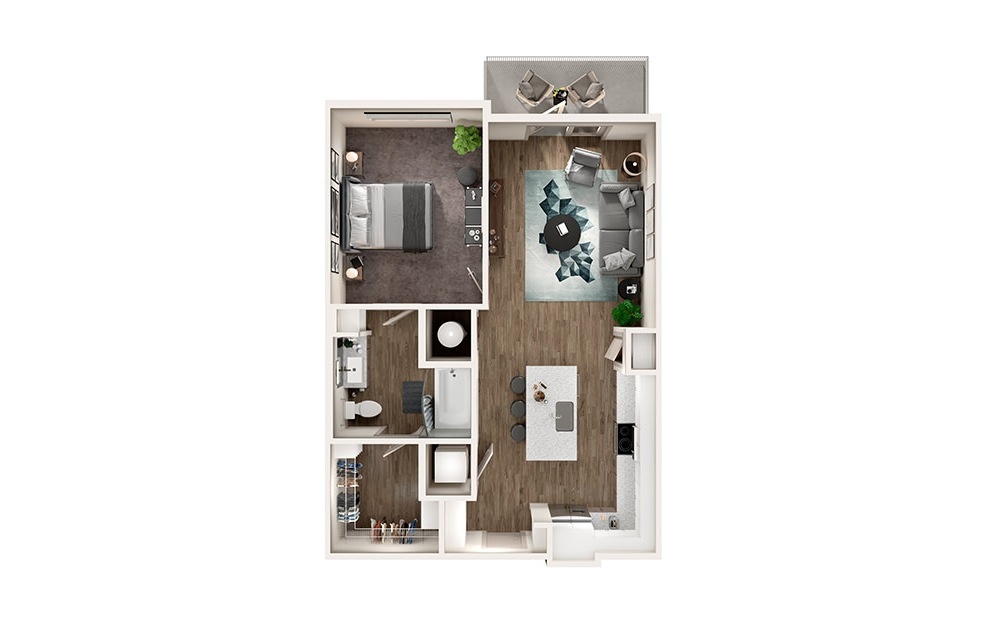 A1 - 1 bedroom floorplan layout with 1 bath and 773 square feet.