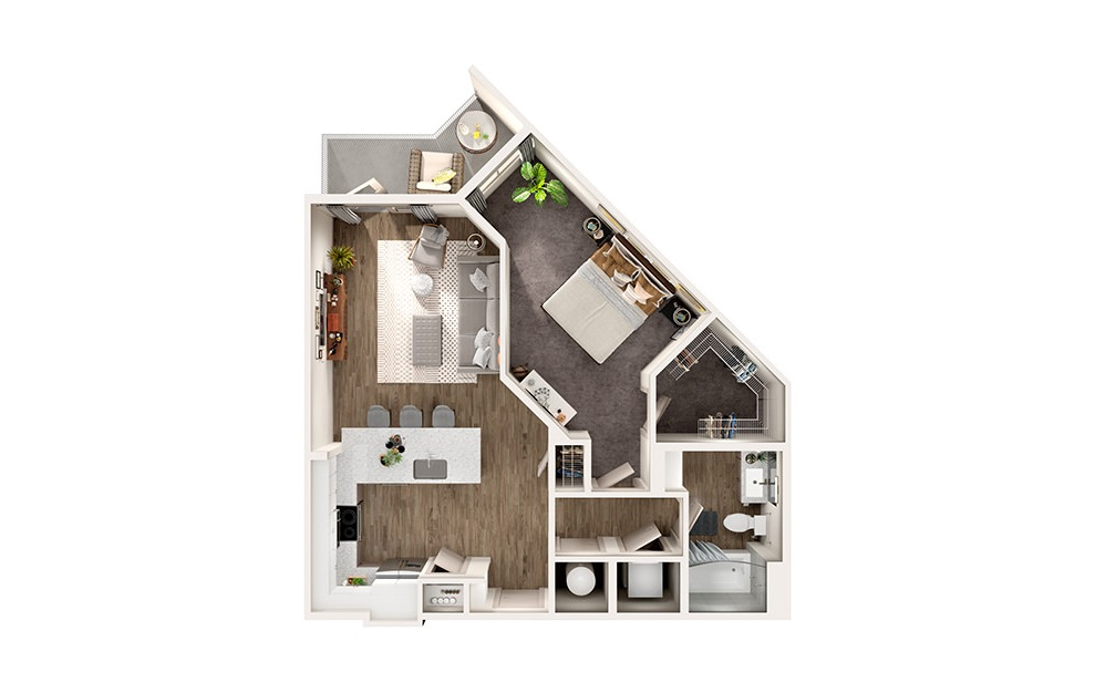 A2 - 1 bedroom floorplan layout with 1 bath and 788 square feet.