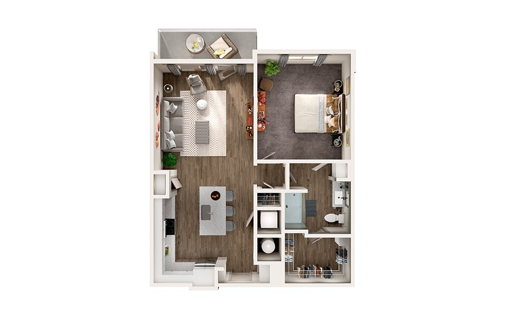 A4 - 1 bedroom floorplan layout with 1 bath and 900 square feet.
