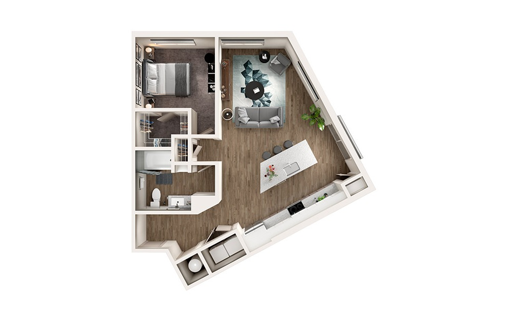 A5 - 1 bedroom floorplan layout with 1 bath and 854 square feet.