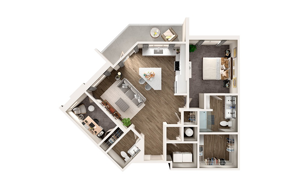 A6 - 1 bedroom floorplan layout with 1.5 bath and 1057 square feet.