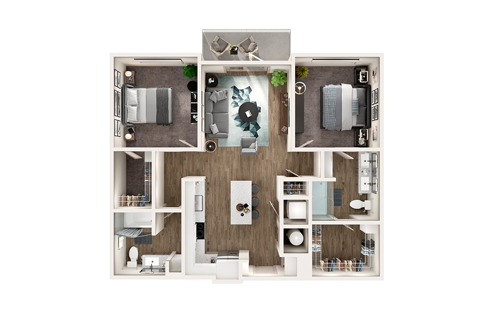 B1 - 2 bedroom floorplan layout with 2 baths and 1064 square feet.