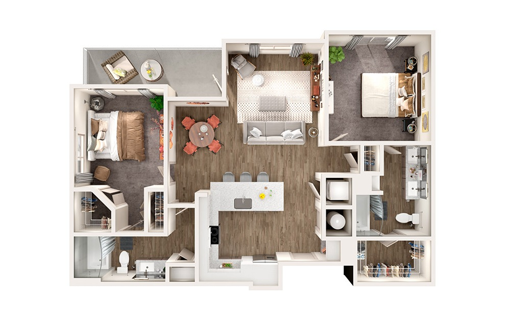 B2 - 2 bedroom floorplan layout with 2 baths and 1119 square feet.