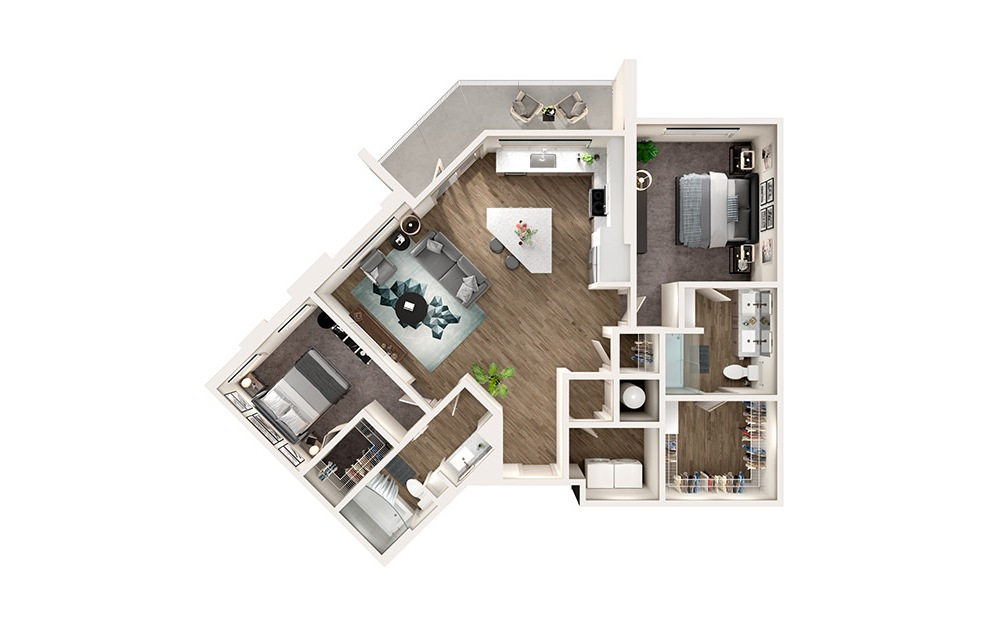 B3 - 2 bedroom floorplan layout with 2 baths and 1190 square feet.