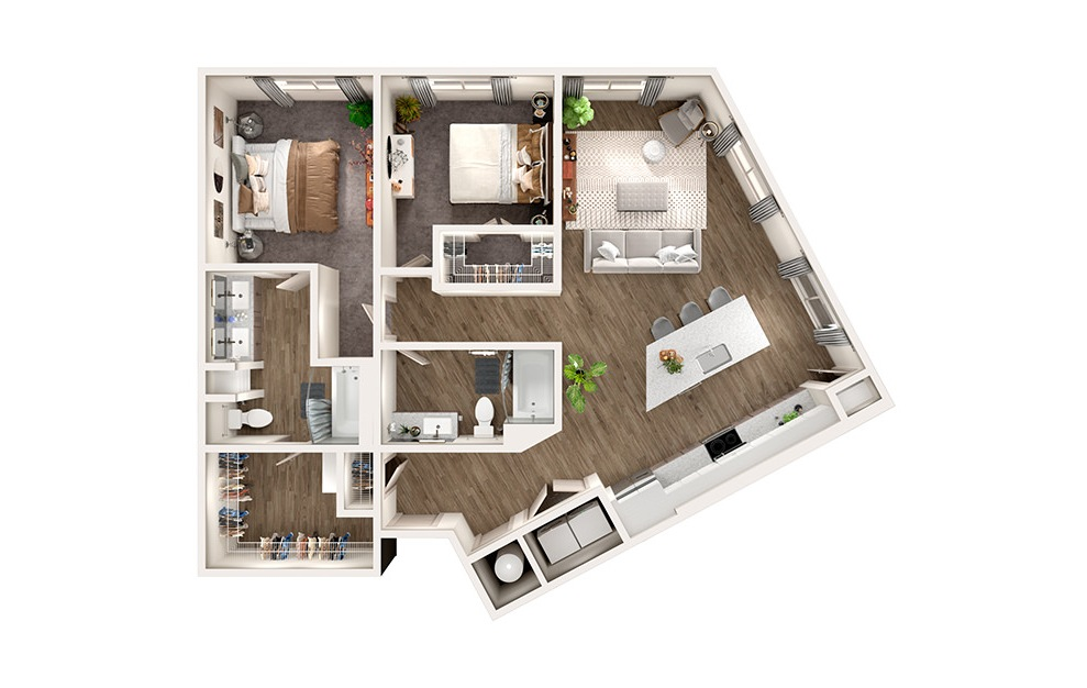 B4 - 2 bedroom floorplan layout with 2 baths and 1223 square feet.