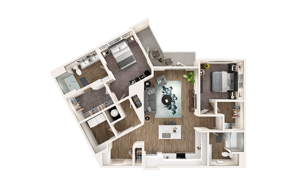 B5 - 2 bedroom floorplan layout with 2 baths and 1245 square feet.