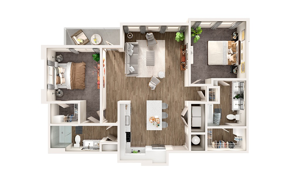 B6 - 2 bedroom floorplan layout with 2 baths and 1258 square feet.