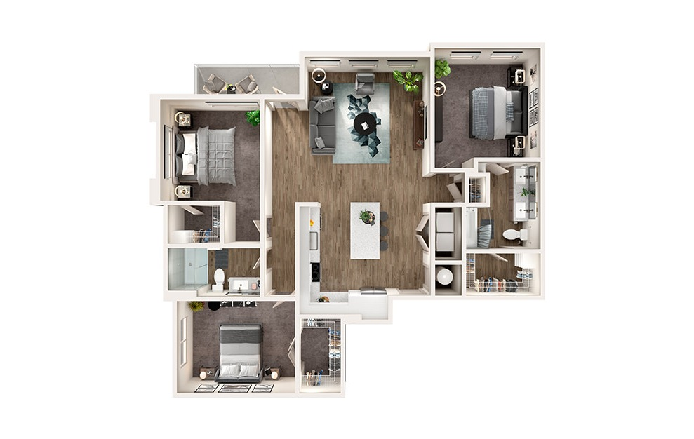 C1 - 3 bedroom floorplan layout with 2 baths and 1472 square feet.