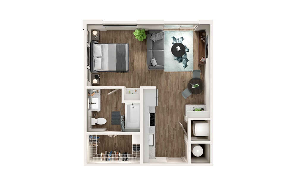 S1 - Studio floorplan layout with 1 bath and 546 square feet.