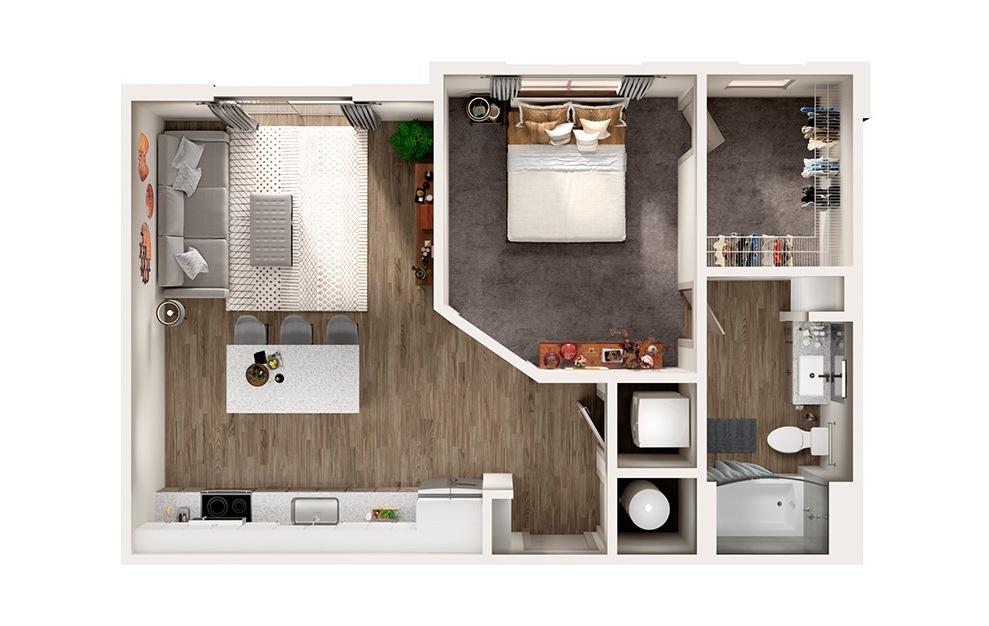 S2 - Studio floorplan layout with 1 bath and 695 square feet.